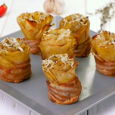 crispy potato roses with bacon
